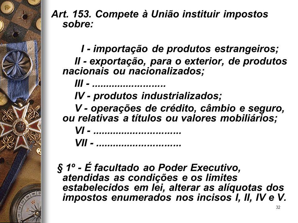 32 Art. 153. Compete à União instituir impostos sobre: I - importação de produtos estrangeiros; II - exportação, para o exterior, de produtos nacionai