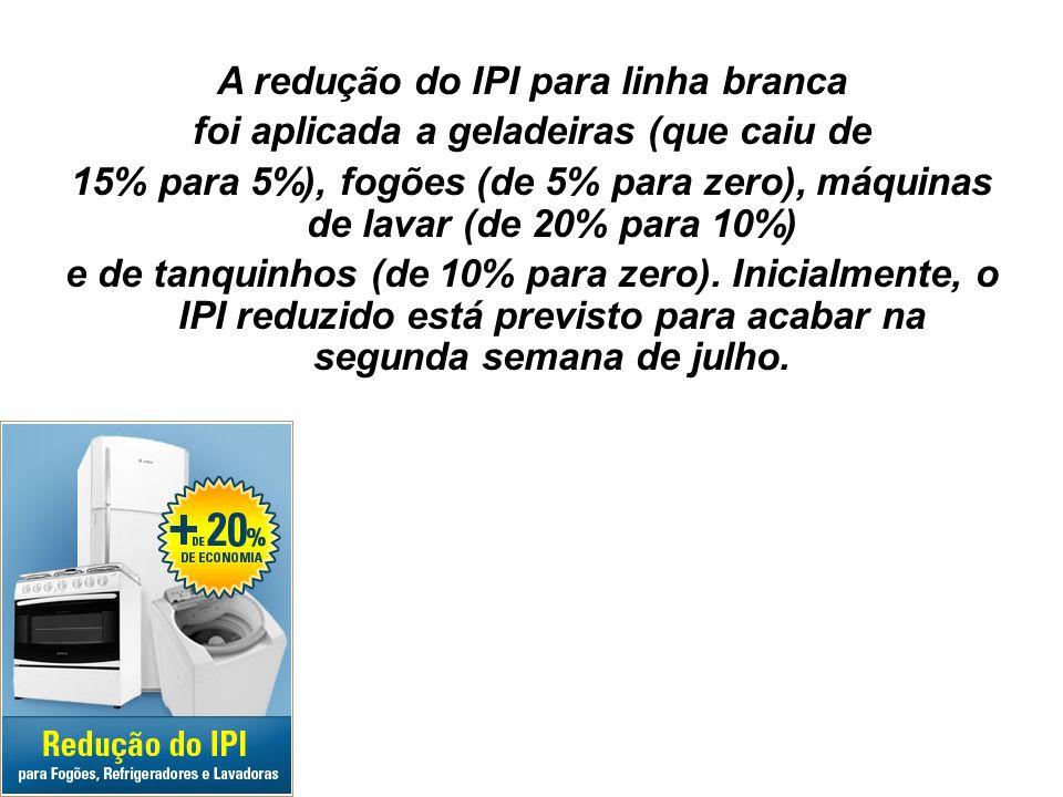 34 A redução do IPI para linha branca foi aplicada a geladeiras (que caiu de 15% para 5%), fogões (de 5% para zero), máquinas de lavar (de 20% para 10