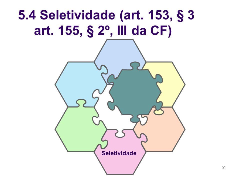 51 5.4 Seletividade (art. 153, § 3º, I; art. 155, § 2º, III da CF) Seletividade