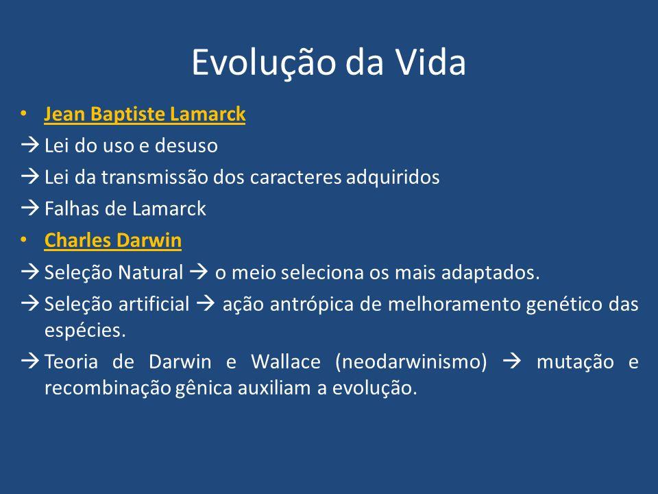 Evolução da Vida Jean Baptiste Lamarck Lei do uso e desuso Lei da transmissão dos caracteres adquiridos Falhas de Lamarck Charles Darwin Seleção Natur