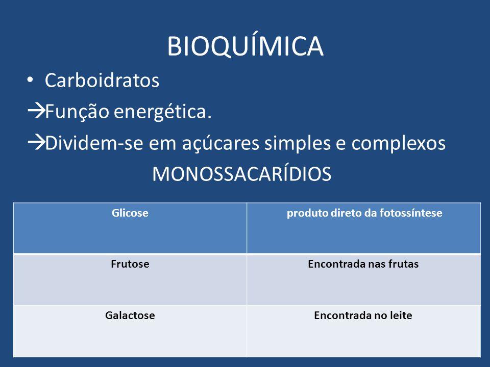 BIOQUÍMICA Carboidratos Função energética. Dividem-se em açúcares simples e complexos MONOSSACARÍDIOS Glicose produto direto da fotossíntese FrutoseEn