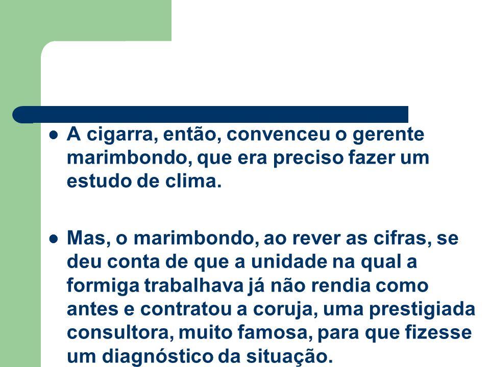 A cigarra, então, convenceu o gerente marimbondo, que era preciso fazer um estudo de clima. Mas, o marimbondo, ao rever as cifras, se deu conta de que