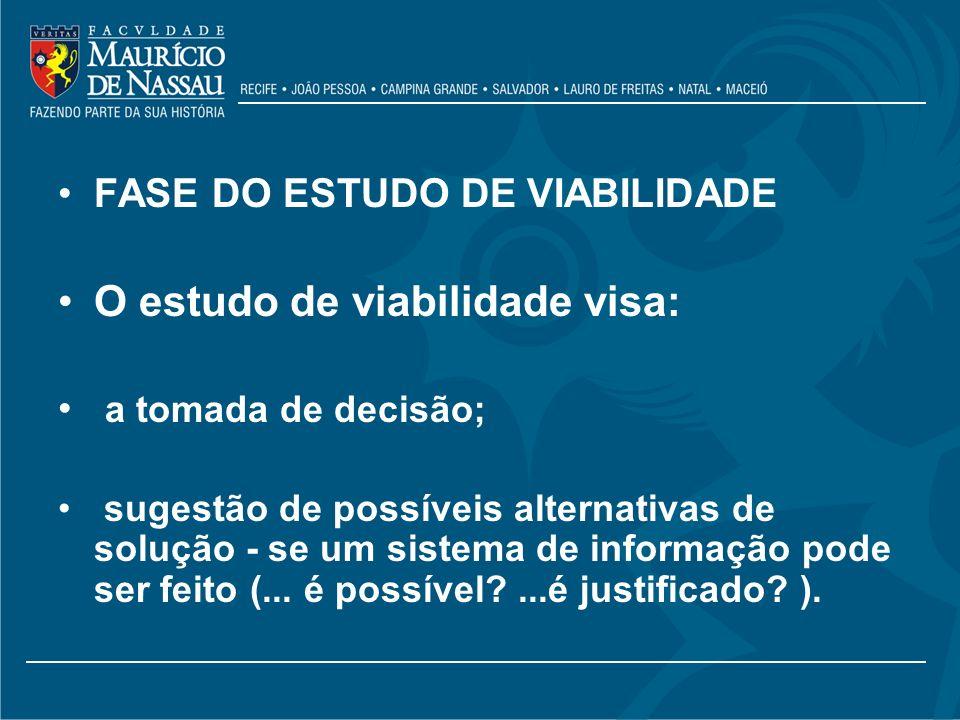 FASE DO ESTUDO DE VIABILIDADE O estudo de viabilidade visa: a tomada de decisão; sugestão de possíveis alternativas de solução - se um sistema de info