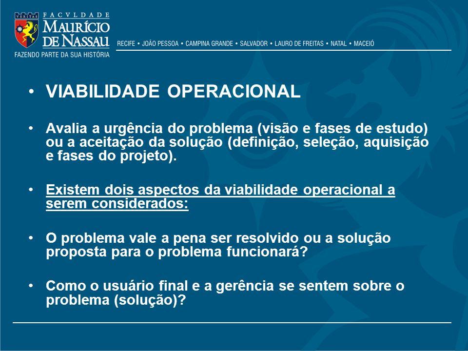 VIABILIDADE OPERACIONAL Avalia a urgência do problema (visão e fases de estudo) ou a aceitação da solução (definição, seleção, aquisição e fases do pr