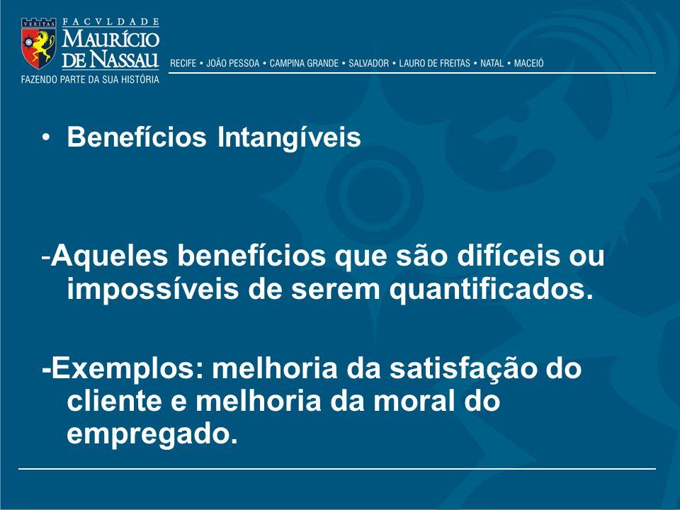 Benefícios Intangíveis -Aqueles benefícios que são difíceis ou impossíveis de serem quantificados. -Exemplos: melhoria da satisfação do cliente e melh