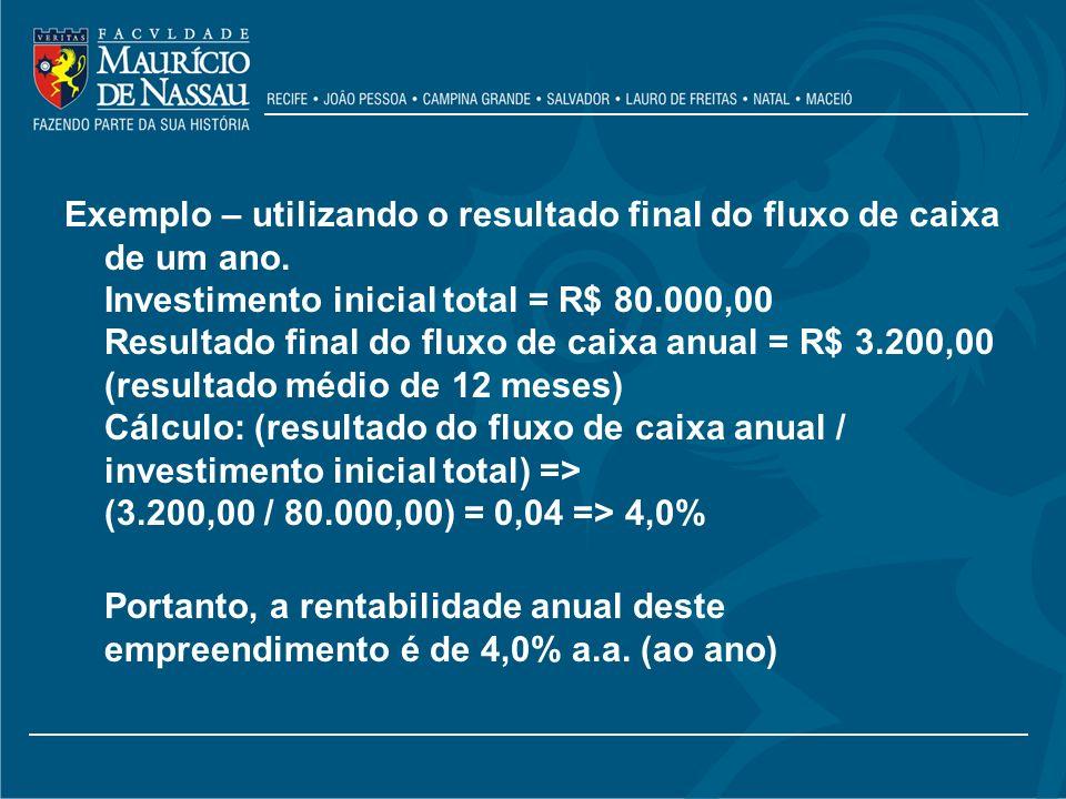 Exemplo – utilizando o resultado final do fluxo de caixa de um ano. Investimento inicial total = R$ 80.000,00 Resultado final do fluxo de caixa anual