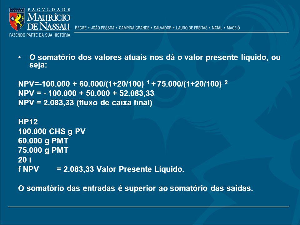 O somatório dos valores atuais nos dá o valor presente líquido, ou seja: NPV=-100.000 + 60.000/(1+20/100) 1 + 75.000/(1+20/100) 2 NPV = - 100.000 + 50