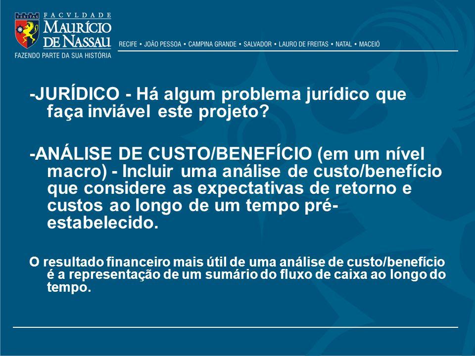 -JURÍDICO - Há algum problema jurídico que faça inviável este projeto? -ANÁLISE DE CUSTO/BENEFÍCIO (em um nível macro) - Incluir uma análise de custo/