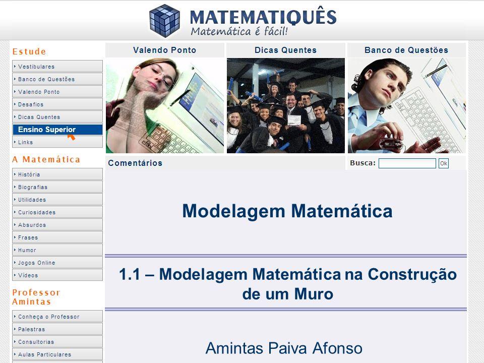 Ensino Superior 1.1 – Modelagem Matemática na Construção de um Muro Amintas Paiva Afonso Modelagem Matemática