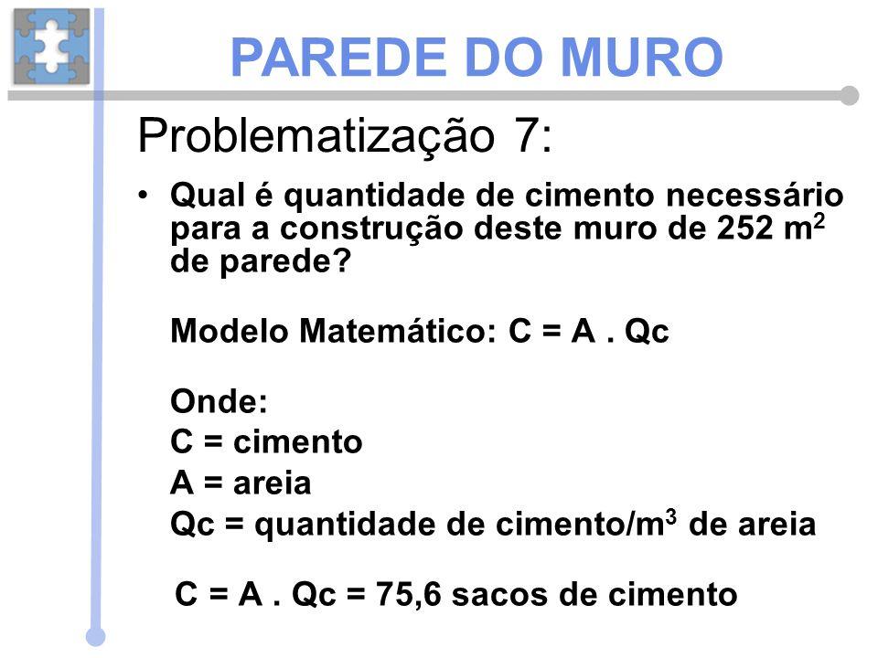 Qual é quantidade de cimento necessário para a construção deste muro de 252 m 2 de parede? Modelo Matemático: C = A. Qc Onde: C = cimento A = areia Qc