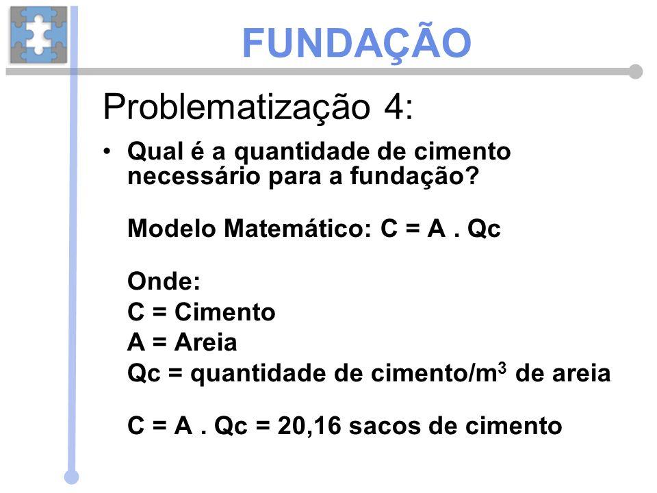 Qual é a quantidade de cimento necessário para a fundação? Modelo Matemático: C = A. Qc Onde: C = Cimento A = Areia Qc = quantidade de cimento/m 3 de