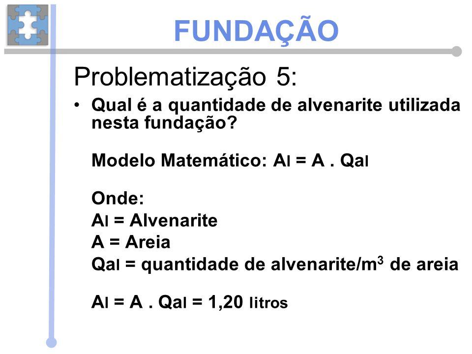 Qual é a quantidade de alvenarite utilizada nesta fundação? Modelo Matemático: A l = A. Qa l Onde: A l = Alvenarite A = Areia Qa l = quantidade de alv