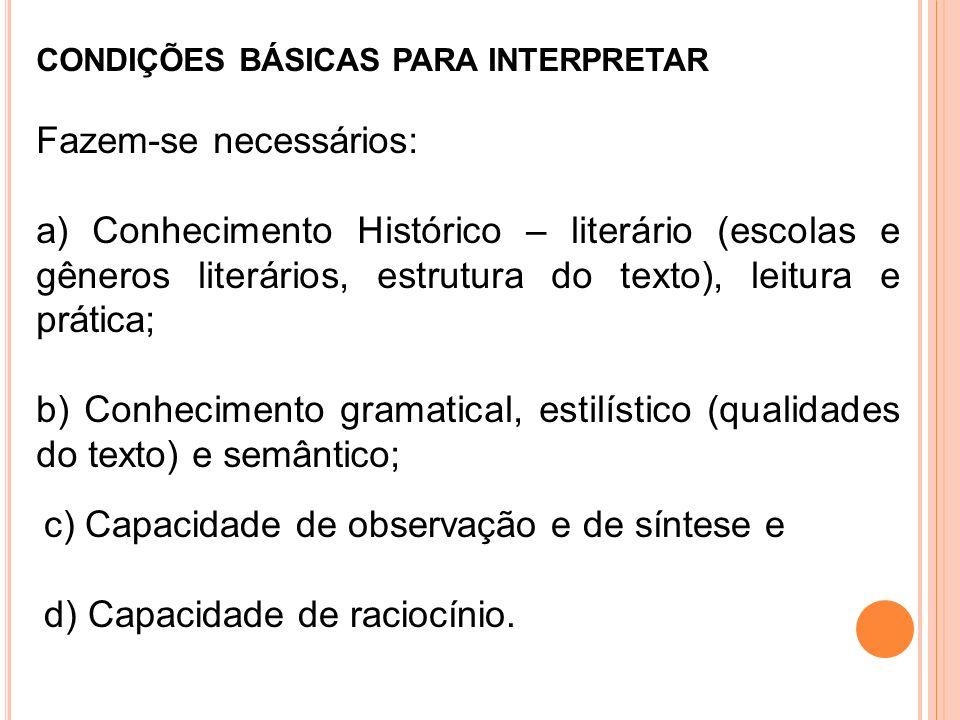 CONDIÇÕES BÁSICAS PARA INTERPRETAR Fazem-se necessários: a) Conhecimento Histórico – literário (escolas e gêneros literários, estrutura do texto), lei