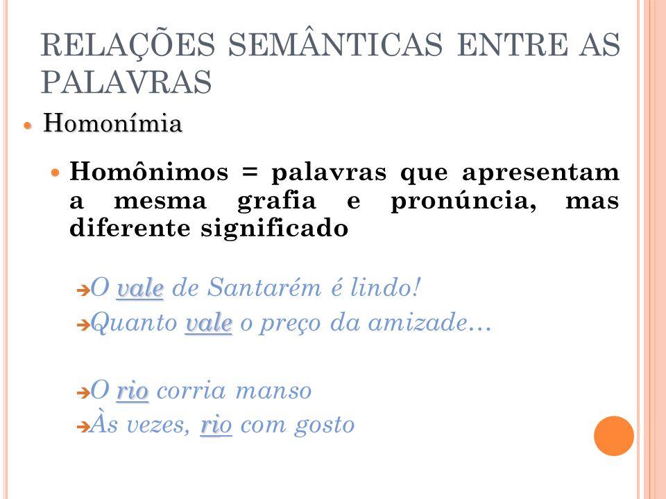 RELAÇÕES SEMÂNTICAS ENTRE AS PALAVRAS Homonímia Homonímia Homônimos = palavras que apresentam a mesma grafia e pronúncia, mas diferente significado va