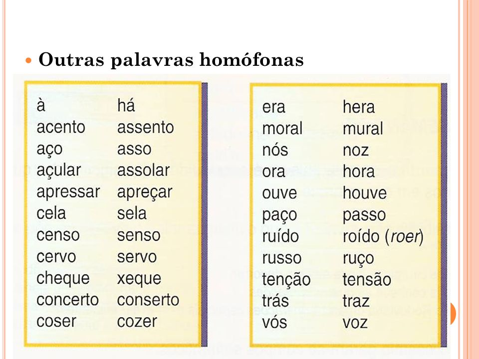 Outras palavras homófonas