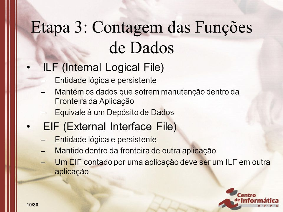 10/30 Etapa 3: Contagem das Funções de Dados ILF (Internal Logical File) –Entidade lógica e persistente –Mantém os dados que sofrem manutenção dentro
