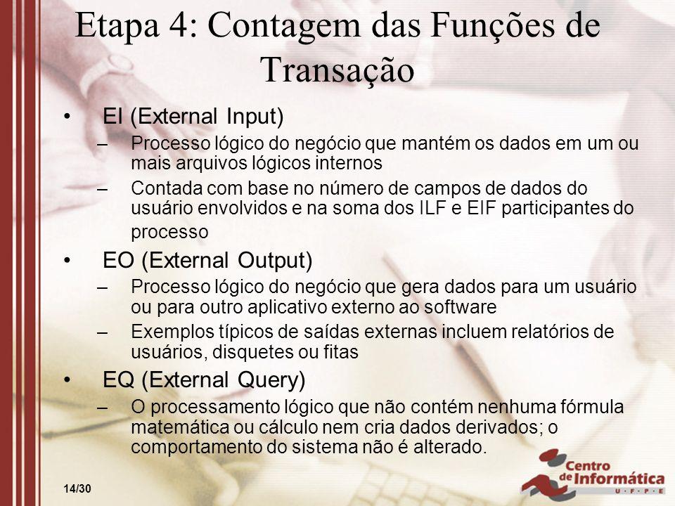 14/30 Etapa 4: Contagem das Funções de Transação EI (External Input) –Processo lógico do negócio que mantém os dados em um ou mais arquivos lógicos in