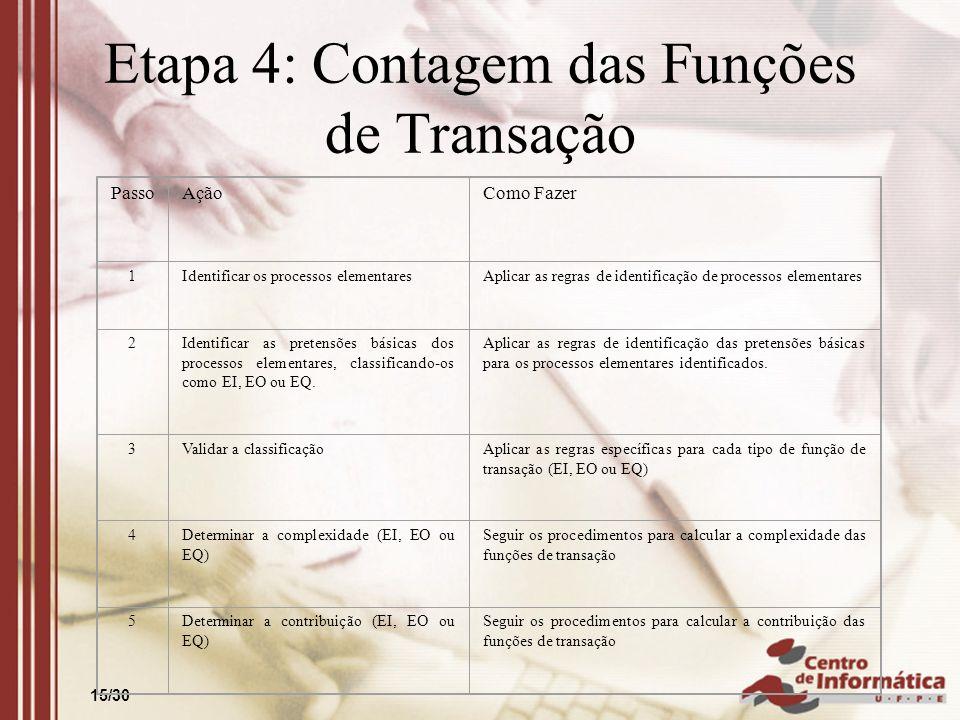 15/30 Etapa 4: Contagem das Funções de Transação PassoAçãoComo Fazer 1Identificar os processos elementaresAplicar as regras de identificação de proces
