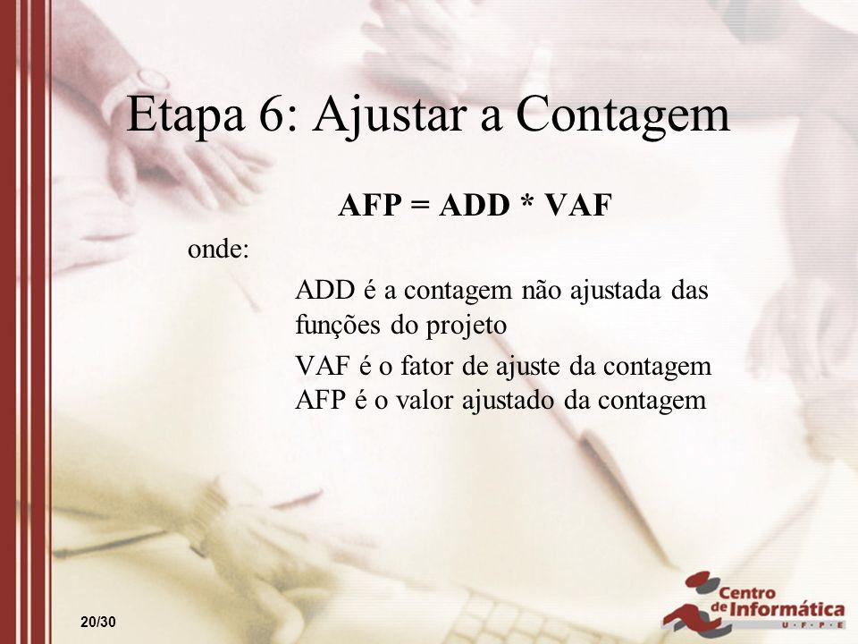 20/30 Etapa 6: Ajustar a Contagem AFP = ADD * VAF onde: ADD é a contagem não ajustada das funções do projeto VAF é o fator de ajuste da contagem AFP é
