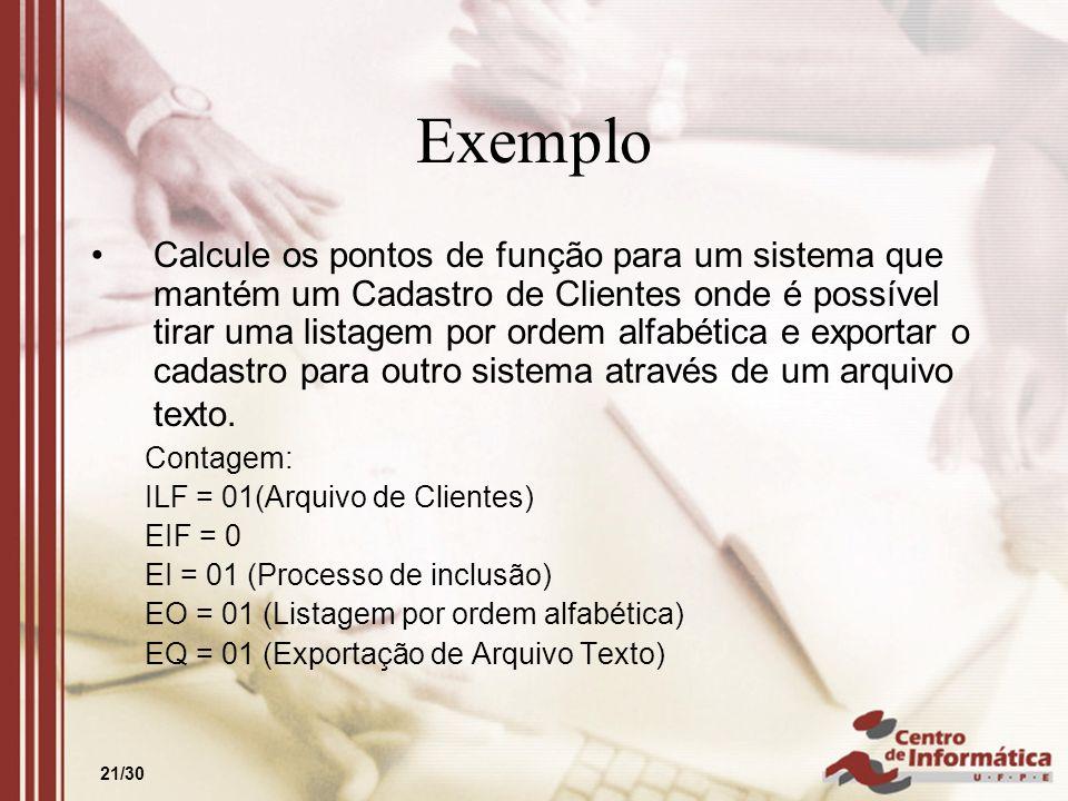 21/30 Exemplo Calcule os pontos de função para um sistema que mantém um Cadastro de Clientes onde é possível tirar uma listagem por ordem alfabética e