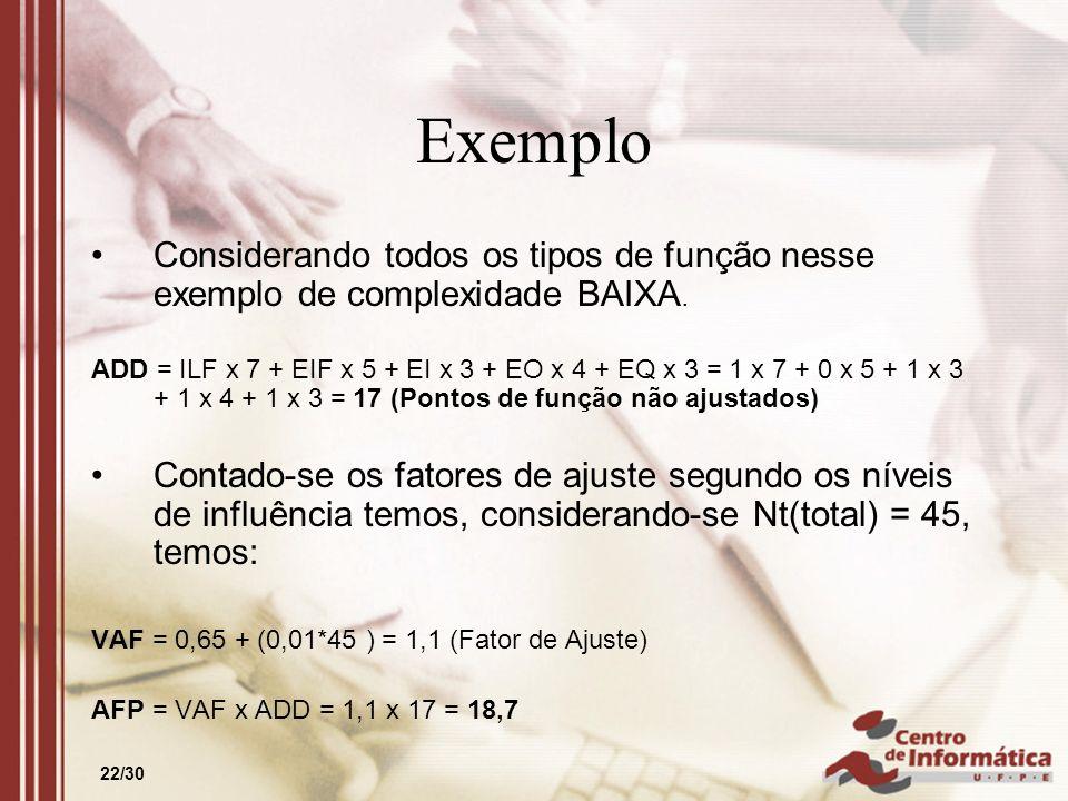 22/30 Exemplo Considerando todos os tipos de função nesse exemplo de complexidade BAIXA. ADD = ILF x 7 + EIF x 5 + EI x 3 + EO x 4 + EQ x 3 = 1 x 7 +