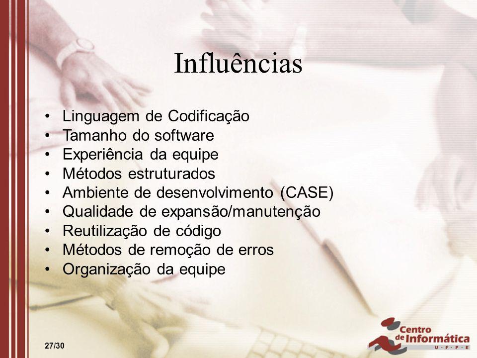 27/30 Influências Linguagem de Codificação Tamanho do software Experiência da equipe Métodos estruturados Ambiente de desenvolvimento (CASE) Qualidade