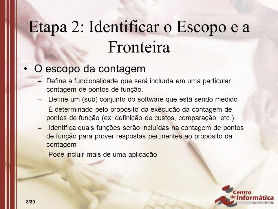 8/30 Etapa 2: Identificar o Escopo e a Fronteira O escopo da contagem –Define a funcionalidade que será incluída em uma particular contagem de pontos