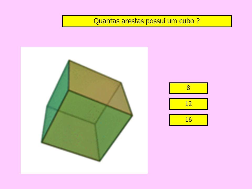 Quantas arestas possui um cubo ? 8 12 16