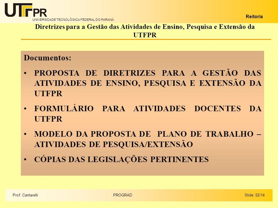 UNIVERSIDADE TECNOLÓGICA FEDERAL DO PARANÁ Reitoria Diretrizes para a Gestão das Atividades de Ensino, Pesquisa e Extensão da UTFPR Documentos: PROPOSTA DE DIRETRIZES PARA A GESTÃO DAS ATIVIDADES DE ENSINO, PESQUISA E EXTENSÃO DA UTFPR FORMULÁRIO PARA ATIVIDADES DOCENTES DA UTFPR MODELO DA PROPOSTA DE PLANO DE TRABALHO – ATIVIDADES DE PESQUISA/EXTENSÃO CÓPIAS DAS LEGISLAÇÕES PERTINENTES Slide: 02/14PROGRADProf.
