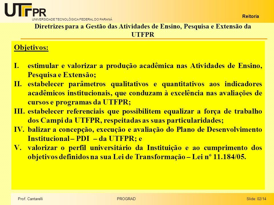UNIVERSIDADE TECNOLÓGICA FEDERAL DO PARANÁ Reitoria Diretrizes para a Gestão das Atividades de Ensino, Pesquisa e Extensão da UTFPR Slide: 02/14PROGRADProf.