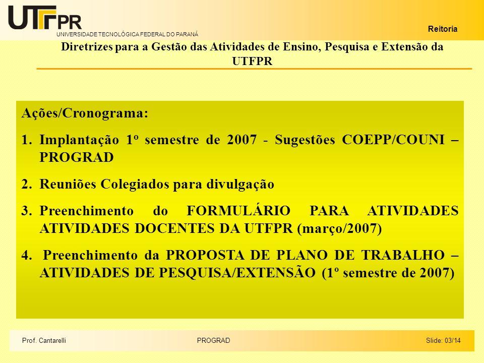 UNIVERSIDADE TECNOLÓGICA FEDERAL DO PARANÁ Reitoria Ações/Cronograma: 1.Implantação 1 o semestre de 2007 - Sugestões COEPP/COUNI – PROGRAD 2.Reuniões