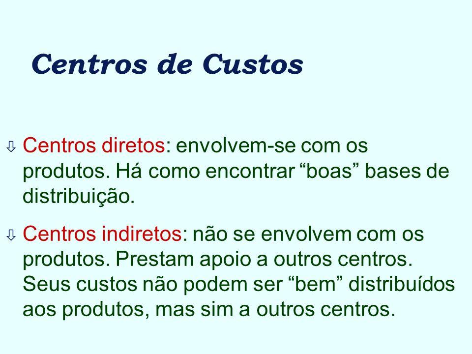 Centros de Custos ò Centros diretos: envolvem-se com os produtos. Há como encontrar boas bases de distribuição. ò Centros indiretos: não se envolvem c