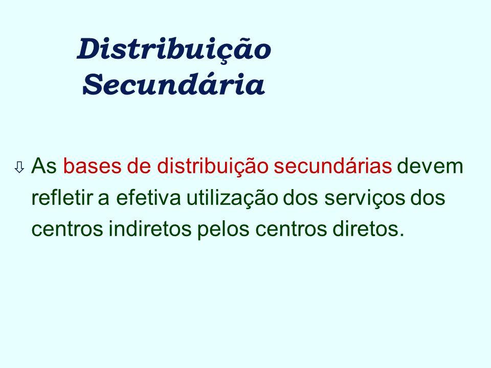 Distribuição Secundária ò As bases de distribuição secundárias devem refletir a efetiva utilização dos serviços dos centros indiretos pelos centros di