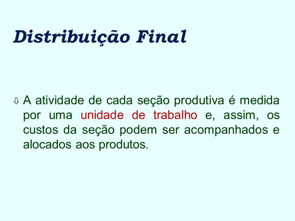 Distribuição Final ò A atividade de cada seção produtiva é medida por uma unidade de trabalho e, assim, os custos da seção podem ser acompanhados e al