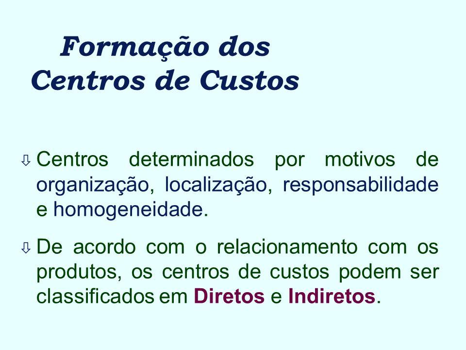 Formação dos Centros de Custos ò Centros determinados por motivos de organização, localização, responsabilidade e homogeneidade. ò De acordo com o rel