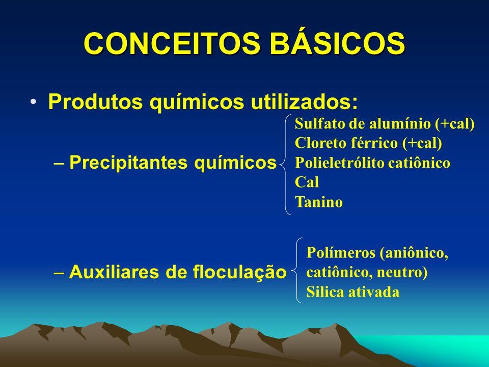 CONCEITOS BÁSICOS Produtos químicos utilizados: –Correção de pH (efluente alcalino) –Correção de pH (efluente ácido) Gás carbônico Ácido sulfúrico Ácido clorídrico Cal hidratada Carbonato de cálcio Hidróxido de sódio