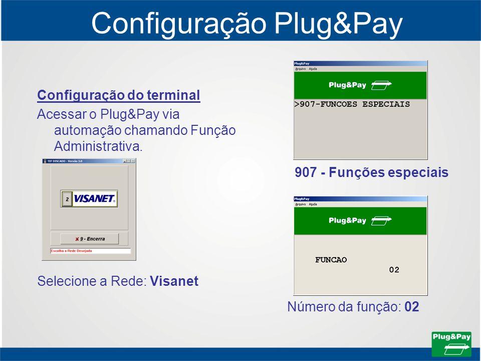 Configuração Plug&Pay Configuração do terminal Acessar o Plug&Pay via automação chamando Função Administrativa. Selecione a Rede: Visanet 907 - Funçõe