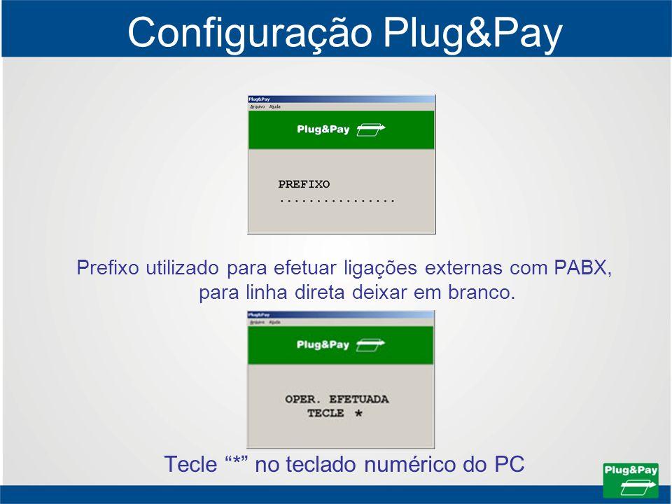 Configuração Plug&Pay Prefixo utilizado para efetuar ligações externas com PABX, para linha direta deixar em branco. Tecle * no teclado numérico do PC