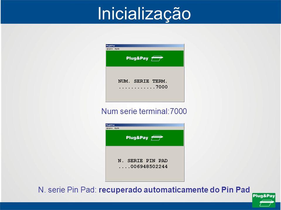 Inicialização Num serie terminal:7000 N. serie Pin Pad: recuperado automaticamente do Pin Pad