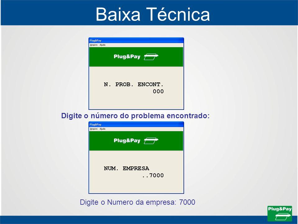 Baixa Técnica Digite o número do problema encontrado: Digite o Numero da empresa: 7000