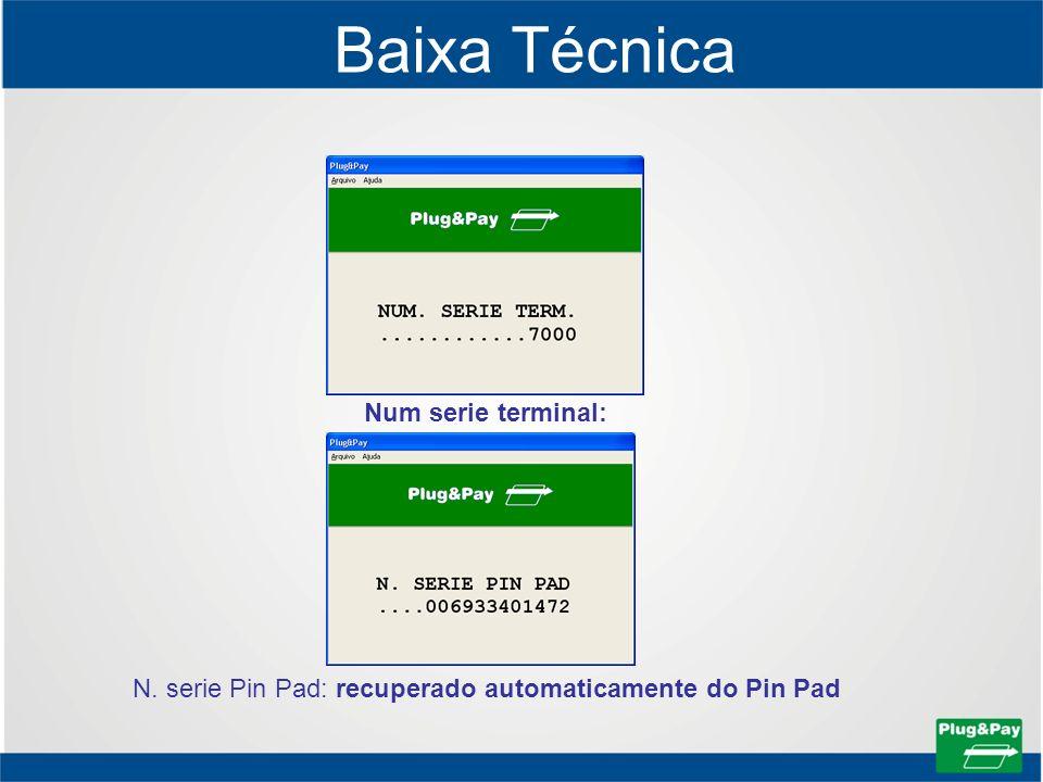 Baixa Técnica Num serie terminal: N. serie Pin Pad: recuperado automaticamente do Pin Pad