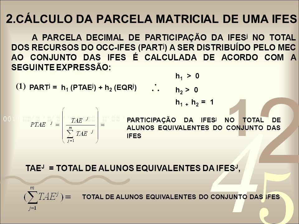 2.CÁLCULO DA PARCELA MATRICIAL DE UMA IFES A PARCELA DECIMAL DE PARTICIPAÇÃO DA IFES j NO TOTAL DOS RECURSOS DO OCC-IFES (PART j ) A SER DISTRIBUÍDO P