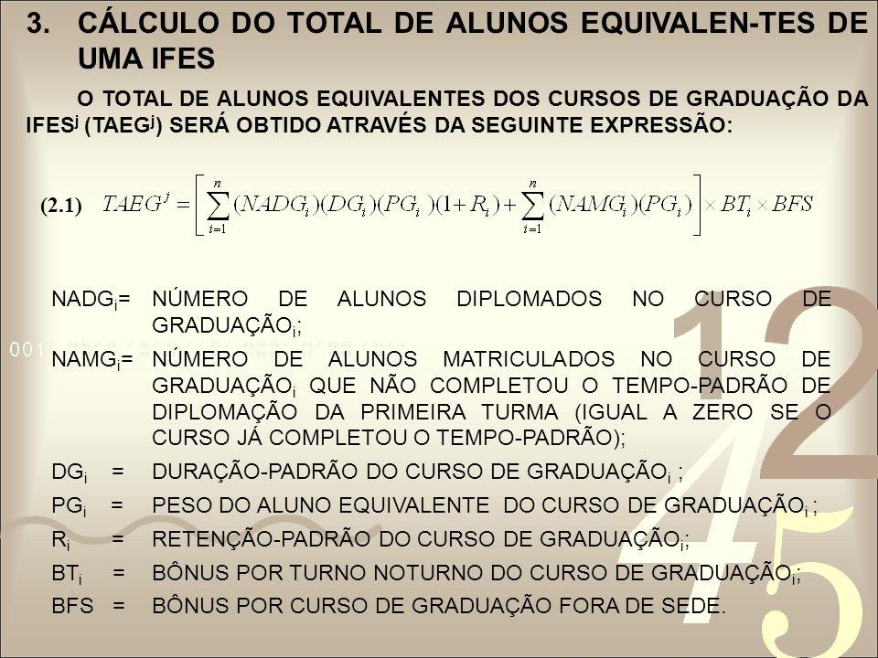 3.CÁLCULO DO TOTAL DE ALUNOS EQUIVALEN- TES DE UMA IFES O TOTAL DE ALUNOS EQUIVALENTES DOS CURSOS DE RESIDÊNCIA MÉDICA E MULTIPROFISSIONAL (TAERM j ) DE UMA IFES j SERÁ CALCULADO PELA EXPRESÃO : ONDE: NADRM i = NÚMERO DE ALUNOS DIPLOMADOS NO CURSO DE RESIDÊN- CIA MÉDICA E MULTIPROFISSIONAL i ; NAMRM i = NÚMERO DE ALUNOS MATRICULADOS NO CURSO DE RESIDÊNCIA MÉDICA E MULTIPROFISSIONAL i QUE AINDA NÃO COMPLETOU O TEMPO-PADRÃO DE DIPLOMAÇÃO DA PRIMEIRA TURMA(IGUAL A ZERO SE O CURSO JÁ COMPLETOU O TEMPO- PADRÃO); DRM i =DURAÇÃO-PADRÃO DO CURSO DE RESIDÊNCIA MÉDICA E MULTIFUNCIONAL i ; PRM i =PESO DO ALUNO EQUIVALENTE DO CURSO DE RESIDÊNCIA MÉDICA OU MULTIFUNCIONAL i.