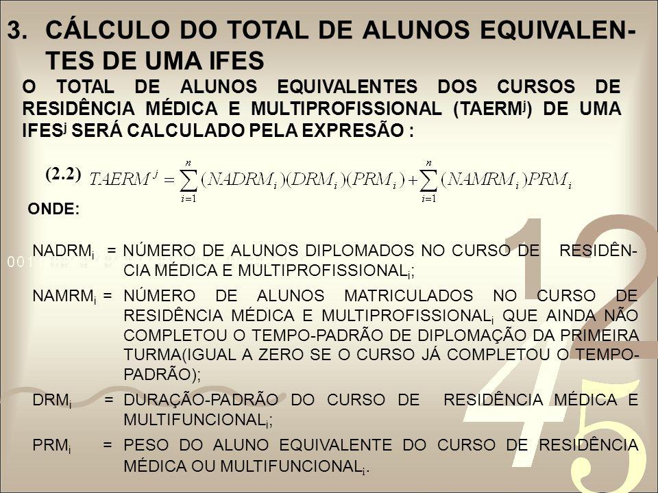 3.CÁLCULO DO TOTAL DE ALUNOS EQUIVALEN- TES DE UMA IFES O TOTAL DE ALUNOS EQUIVALENTES DOS CURSOS DE MESTRADO DE UMA IFES j (TAEM j ) SERÁ CALCULADO CONFORME SEGUE : ONDE: NADM i =NÚMERO DE ALUNOS DIPLOMADOS NO CURSO DE MESTRADO i ; NAMM i =NÚMERO DE ALUNOS MATRICULADOS NO CURSO DE MESTRADO i QUE NÃO COMPLETOU O TEMPO-PADRÃO DE DIPLOMAÇÃO DA PRIMEIRA TURMA (IGUAL A ZERO SE O CURSO JÁ COMPLETOU O TEMPO-PADRÃO); DM i =DURAÇÃO-PADRÃO DO CURSO DE MESTRADO i ; PM i =PESO DO ALUNO EQUIVALENTE DO CURSO DE MESTRADO i.
