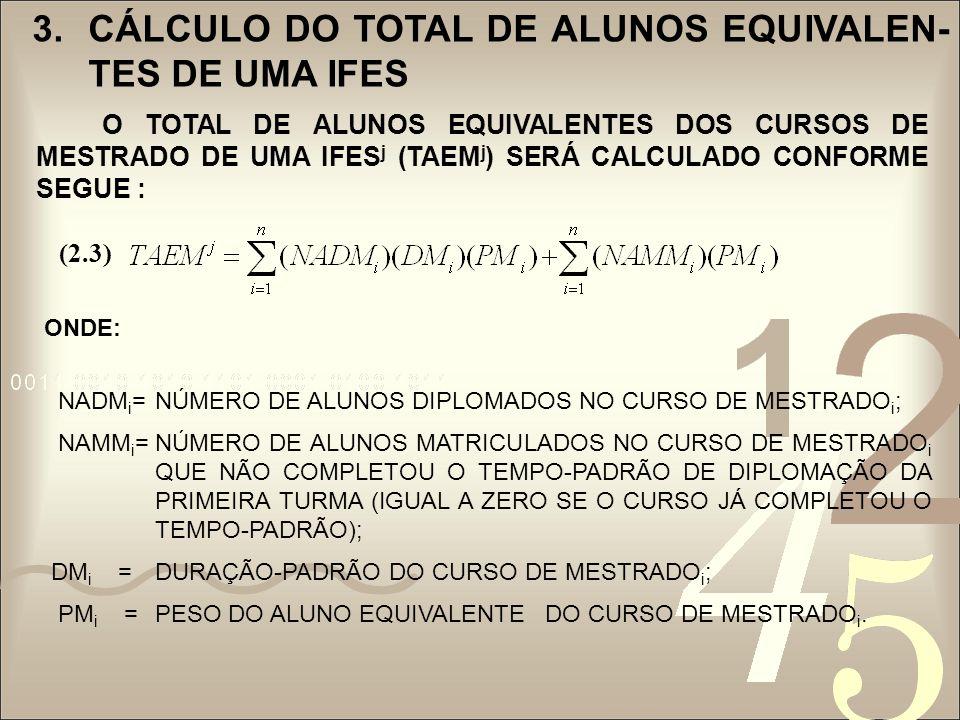 3.CÁLCULO DO TOTAL DE ALUNOS EQUIVALEN- TES DE UMA IFES O TOTAL DE ALUNOS EQUIVALENTES DOS CURSOS DE DOUTORADO DE UMA IFES j (TAED j ) SERÁ CALCULADO PELA EXPRESSÃO: ONDE: NADD i = NÚMERO DE ALUNOS DIPLOMADOS NO CURSO DE DOUTORADO i ; NAMD i = NÚMERO DE ALUNOS MATRICULADOS NO CURSO DE DOUTORADO i QUE AINDA NÃO COMPLETOU O TEMPO-PADRÃO DE DIPLOMAÇÃO DA PRIMEIRA TURMA (IGUAL A ZERO SE O CURSO JÁ COMPLETOU O TEMPO-PADRÃO); DD i =DURAÇÃO-PADRÃO DO CURSO DE DOUTORADO i ; PD i =PESO DO ALUNO EQUIVALENTE DO CURSO DE DOUTORADO i.