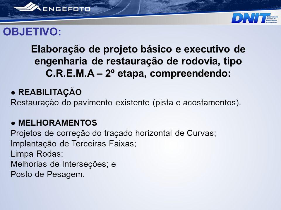 Elaboração de projeto básico e executivo de engenharia de restauração de rodovia, tipo C.R.E.M.A – 2º etapa, compreendendo: OBJETIVO: REABILITAÇÃO Res