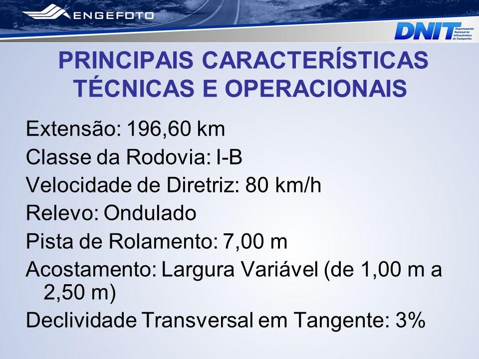 PRINCIPAIS CARACTERÍSTICAS TÉCNICAS E OPERACIONAIS Extensão: 196,60 km Classe da Rodovia: I-B Velocidade de Diretriz: 80 km/h Relevo: Ondulado Pista d