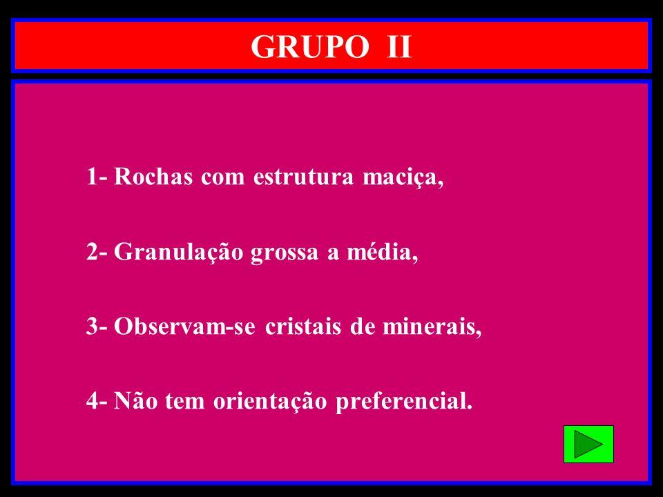 GRUPO II 1- Rochas com estrutura maciça, 2- Granulação grossa a média, 3- Observam-se cristais de minerais, 4- Não tem orientação preferencial.