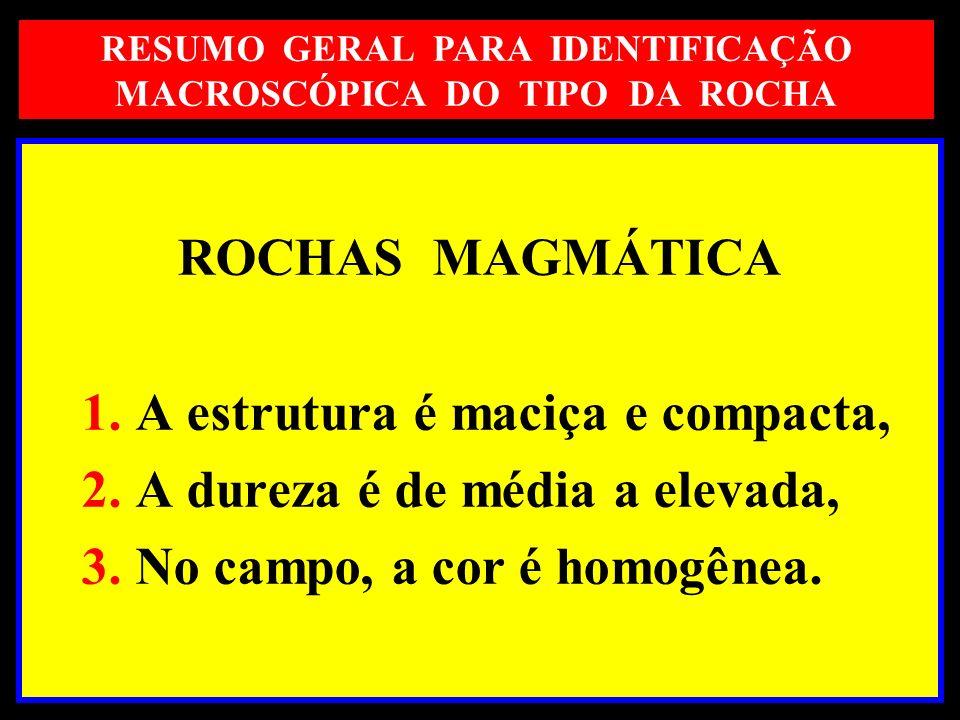 ROCHAS MAGMÁTICA 1. A estrutura é maciça e compacta, 2. A dureza é de média a elevada, 3. No campo, a cor é homogênea. RESUMO GERAL PARA IDENTIFICAÇÃO