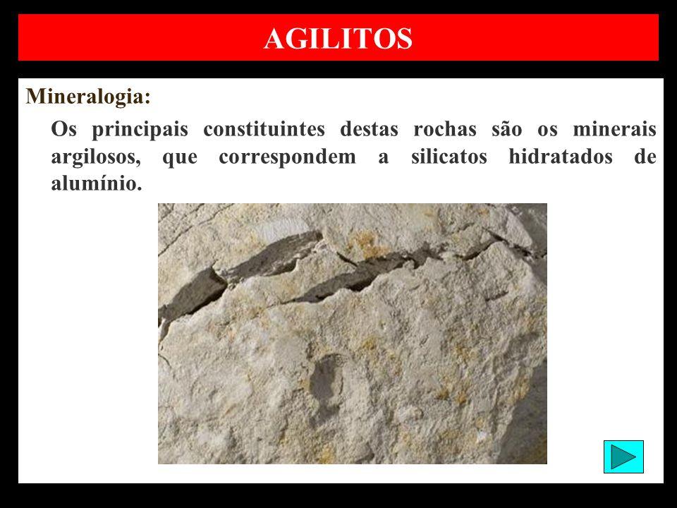 AGILITOS Mineralogia: Os principais constituintes destas rochas são os minerais argilosos, que correspondem a silicatos hidratados de alumínio.